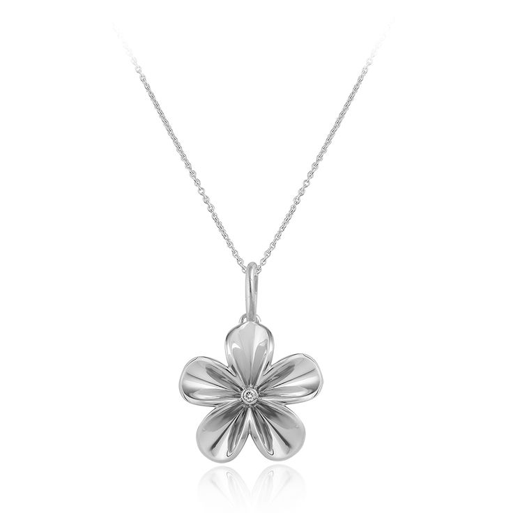 Floriano Necklace. Glossy 925 sterling silver with white rhodium plating.  1 brilliant cut diamond 0.04 carat (full cut).