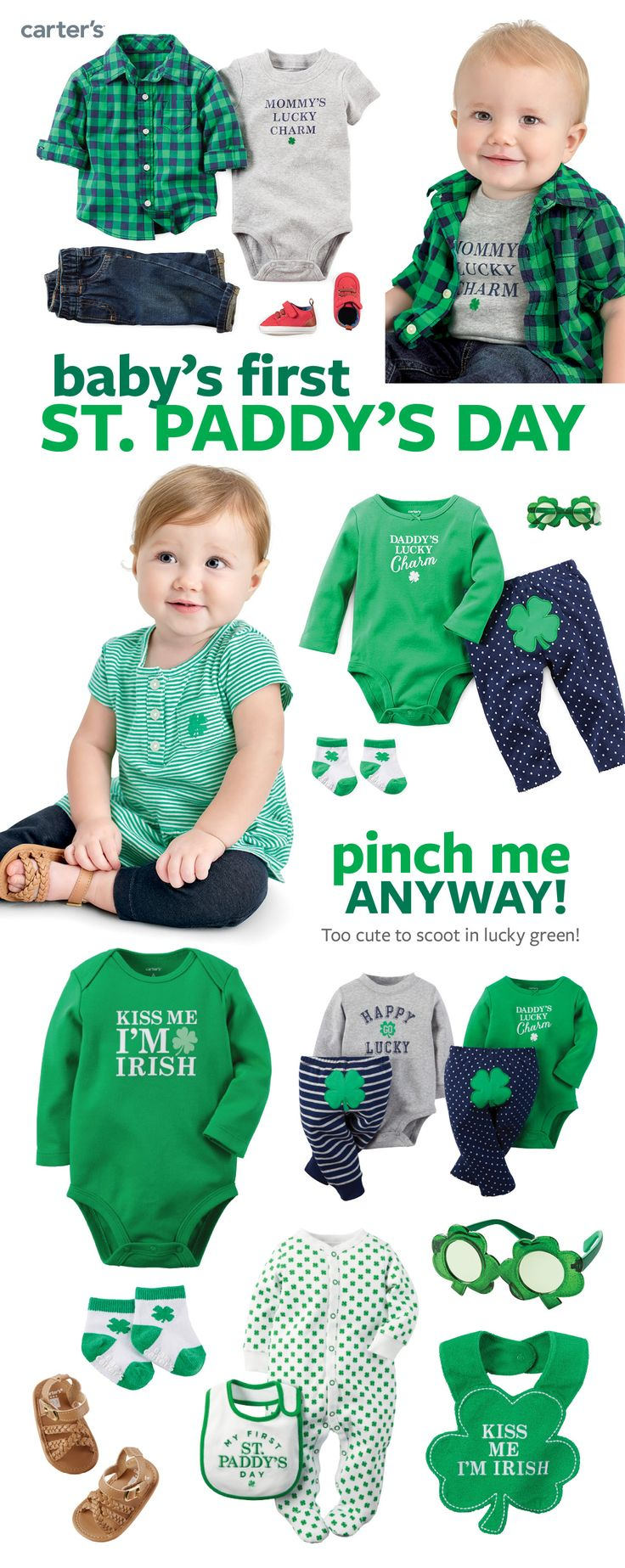 Celebrate baby's first St. Patrick's day with easy outfit sets, sleep & play, bibs, socks and more first little looks for your good luck charm!