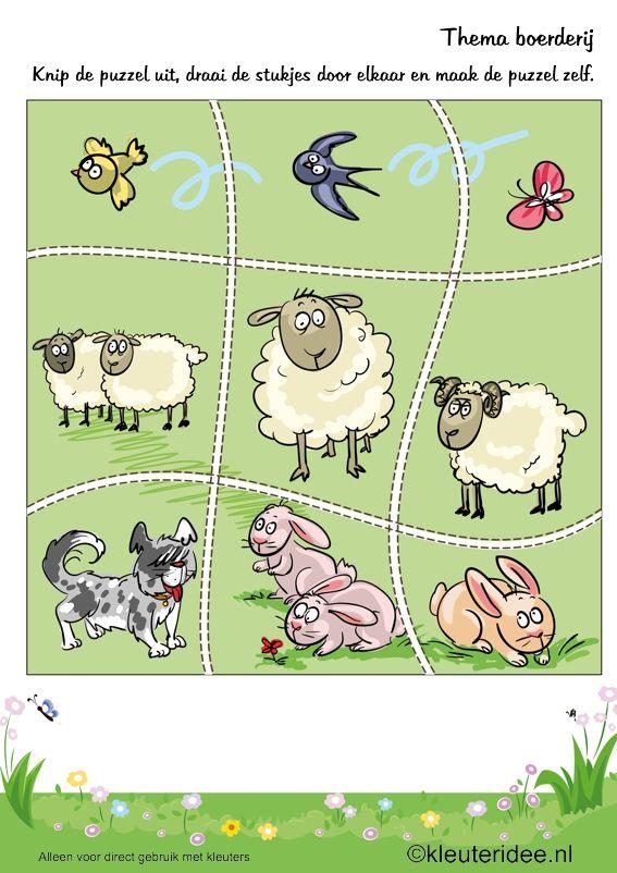 Puzzel boerderijdieren 2, thema boerderij, kleuteridee , Preschool puzzle, farm theme, free printable.