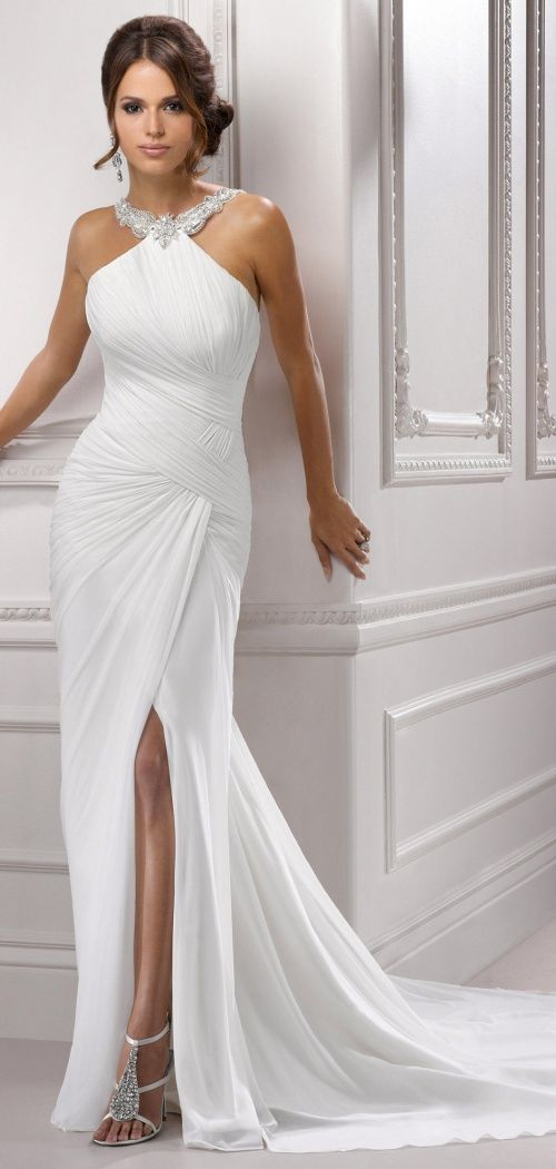 Sexy Column Beading Chiffon Front Split Wedding Dress #WEDDINGDRESS #lace #wedding  wedding dress wedding dresses