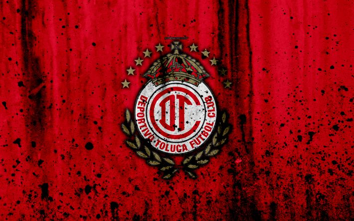 Download wallpapers Deportivo Toluca FC, 4k, grunge, stone texture, logo, emblem, Primera Division, Mexican football club, Toluca de Lerdo, Mexico