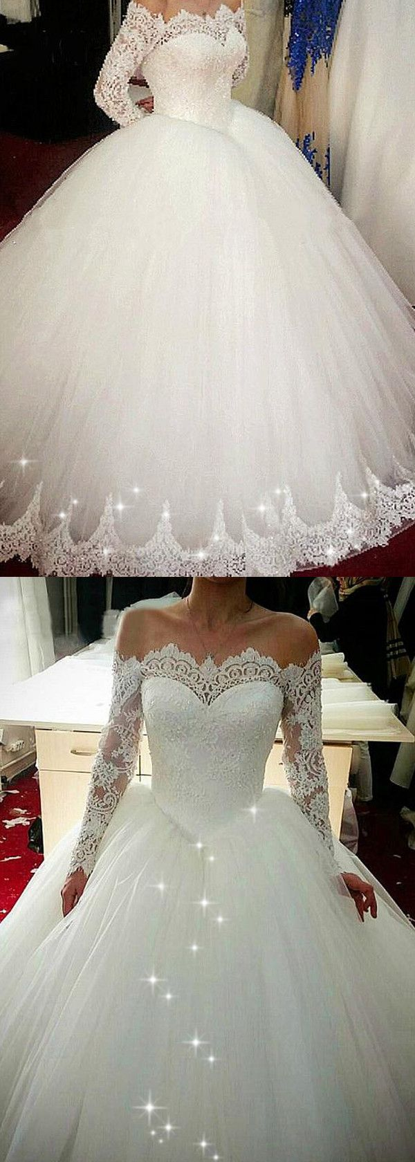 Elegant Tulle Off-the-shoulder Neckline Basque Waistline Ball Gown Wedding Dress With Beaded Lace Appliques