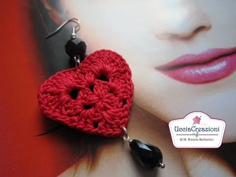 TUTORIAL 1 . * ORECCHINI CUORE ALL UNCINETTO * HOW TO EARRINGS HEART CROCHET, My Crafts and DIY