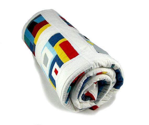 Unieke moderne quilt deken ideaal voor een jongen. door kleinedromen