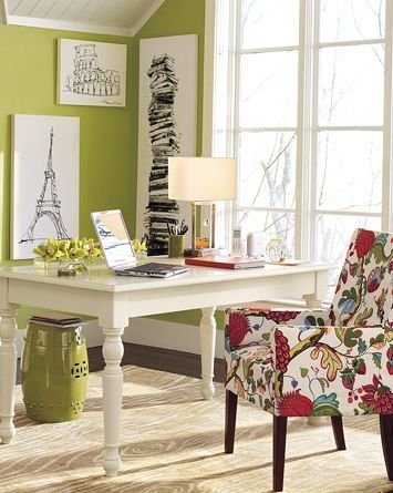 LOVE the wall color!  Benjamin Moore Jalapeno Pepper.: Offices Desks, White Desks, Wall Color, Interiors Design, Lighting Green Wall, Offices Color, Offices Idea, Design Idea, Homes Offices Design