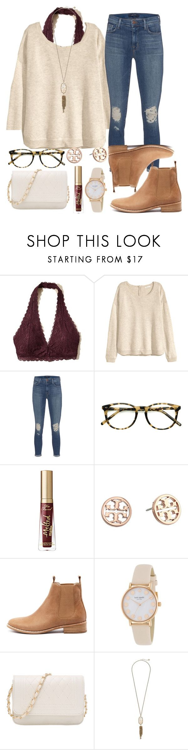 """""""ready for fall """" by hey-faith ❤ liked on Polyvore featuring Hollister Co., H&M, J Brand, Ace, Too Faced Cosmetics, Tory Burch, Mollini, Kate Spade and Kendra Scott"""