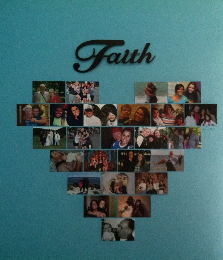 Faith's Pinterest project - her heart picture wall