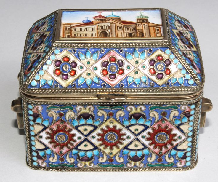 #Imperial #Russian silver #enameled hinged box