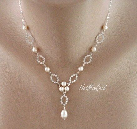 Y Necklace, Wire Wrapped Wedding Jewelry -Elizabeth, Sarah- Pearls Rhinestone Drop Necklace, Bridal necklace, Formal jewelry