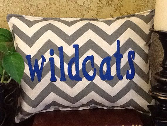 WILDCATS Chevron Stenciled Pillow by BurlapPillowsEtc on Etsy