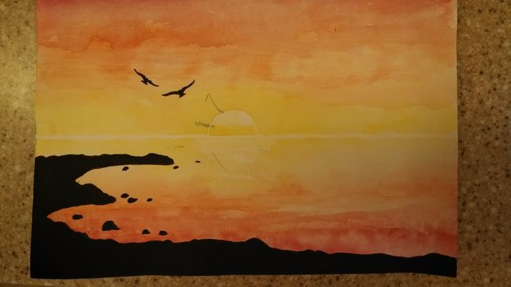 Beach Silhouette- use white crayon or oil pastel to draw horizon and outline of sun, paint sky and water with watercolors, paint shore and birds with black acrylic paint  (The random gray marks were from a paint spill in class)