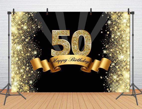 Custom Happy 50th Birthday Backdrop Party Banner Glitter Gold And
