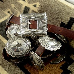 Sterling Silver Navajo Concho Belt by Fred Thompson, Sedona Indian Jewelry, Flagstaff Indian Jewelry