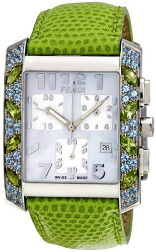Fendi Mother of Pearl Dial Chronograph Green Leather Strap Ladies Watch |Pinned from PinTo for iPad|