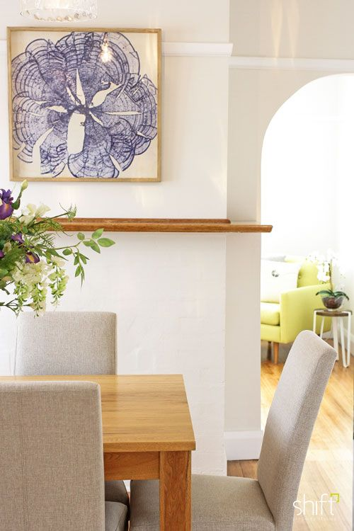 dining room styling, Tasmanian Oak dining table, neutral fabric dining chairs, blue floral art
