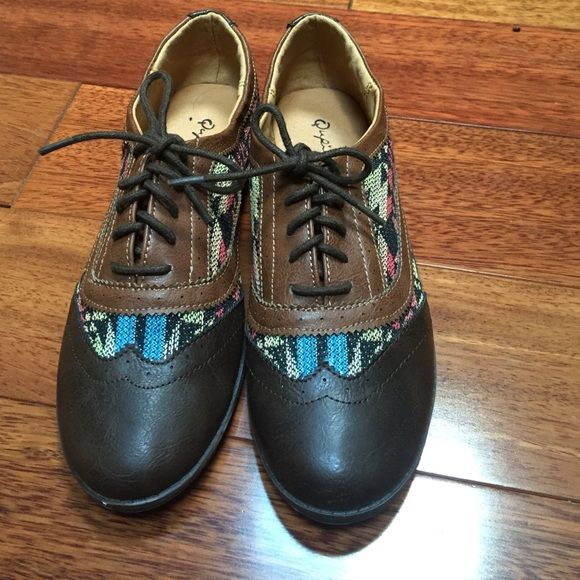 New! Never worn Aztec shoes! Trendy brown shoes with multicolor Aztec detail around the edges as pictured Qupid Shoes