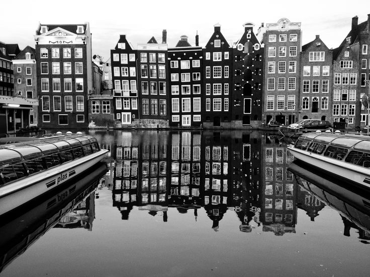 Amsterdam black and white with canal