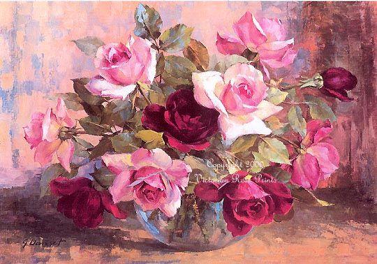Victorian Rose Prints Gallery : Pink Parfait Cabbage Roses Print Danset Rose Bowl