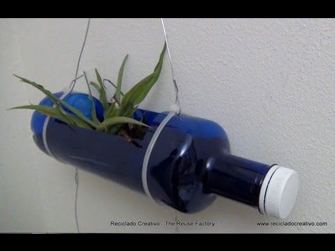 how to make a hanging garden from plastic bottles
