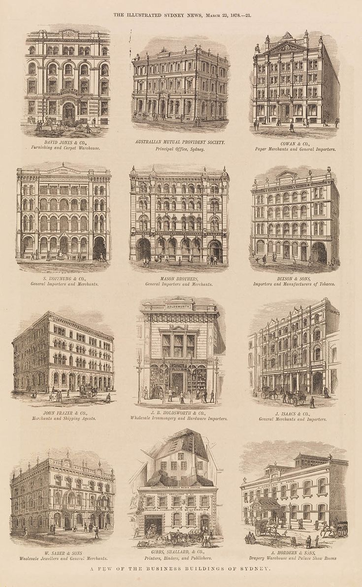 A few of the business buildings of Sydney March 1878.A♥W
