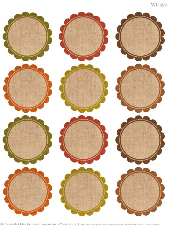 Round labels with an Autumn feel. Free Printables by @Erin B B Rippy - Ink Tree Press