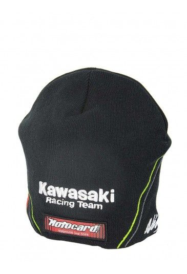 Kawasaki beanie dedicated to superbike rider Tom Sykes. Black beanie embellished by green and grey details that stand out on the black cotton. The Kawasaki Racing Team logo is embroidered on the front, race number 66 is embroidered on the right and the Ninja logo is embroidered on the left. #TomSykes #Kawasaki #worldsbk