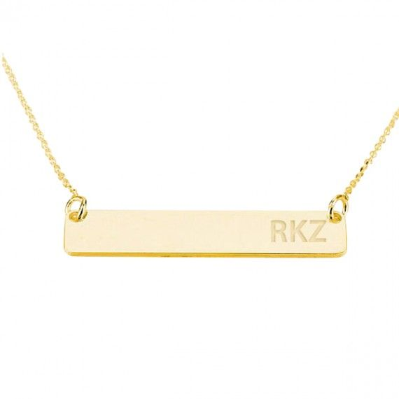 three initial bar necklace gold jewels