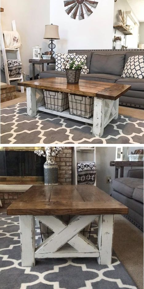 DIY Farmhouse Coffee Table - For the Home Living Room -  Two tone woodworking plans #woodworkingdesign