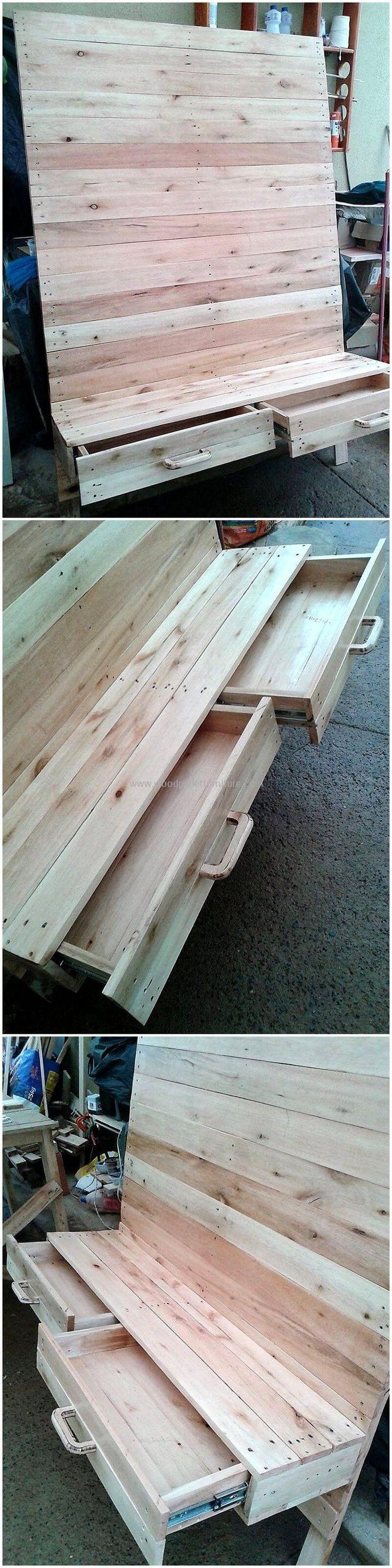 This wooden pallet LED stand idea has all the things you need in your room. You can attach your large-size LED in the large wooden portion. The lower drawers in this wood pallets plan will provide you best storage capacity. The original color of wood pallets is making this LED stand an ideal one.