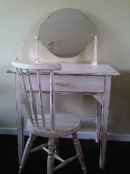 Antique Pine Dressing Table in perfect condition, painted in antique white with shabby chic finish. If you would like the matching chair with it there is an extra 250 Rand for it.  Newly restored, antique, solid wood furniture.  To view more items please visit my Facebook pages at: http://www.facebook.com/ArmstrongHomeDecor