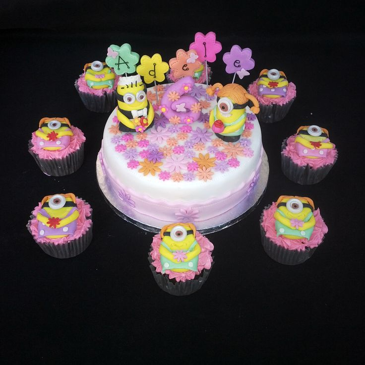 Mini Girly Minion cake plus matching cupcakes (Bloemfontein cake & cupcakes)