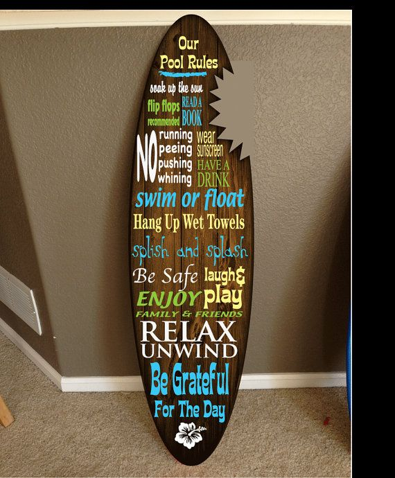 surf board surfboard decor hawaiian beach surfing beach decor Pool decor, Pool Signs