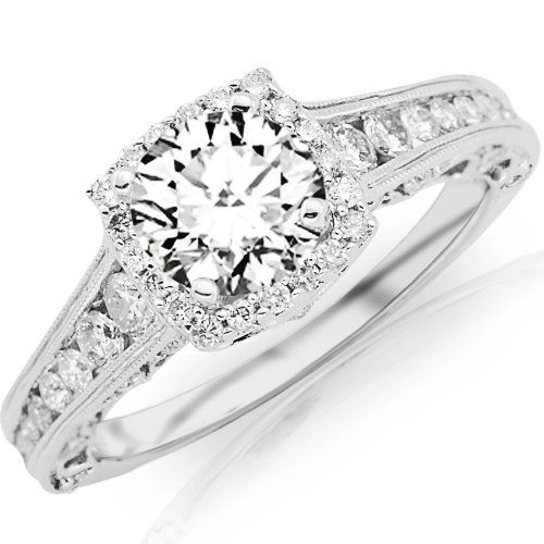 1.25 Carat Designer Halo Channel Set Round Diamond Engagement Ring with Milgrain 14K White Gold with a 0.5 Carat F-G SI2-I1 Center