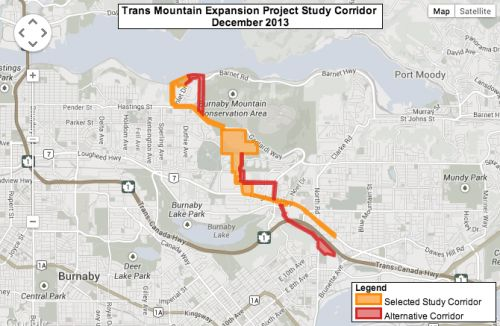 Kinder Morgan oil pipeline route still being studied, says company website