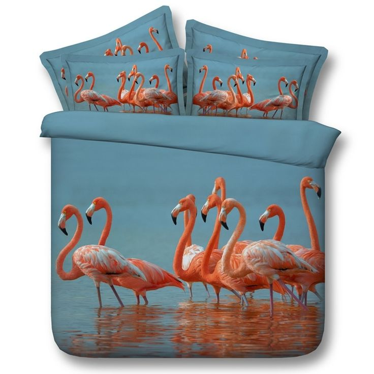 Beautiful Blue and Pink Flamingo Print Animal Themed 3D Design Fancy Girls Twin, Full, Queen, King Size Bedding Sets