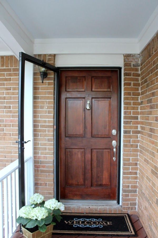 Home Depot Style Challenge :: Front door makeover with fresh stain, pineapple door knocker, oversized welcome mat, haint blue ceilings and hydrangea