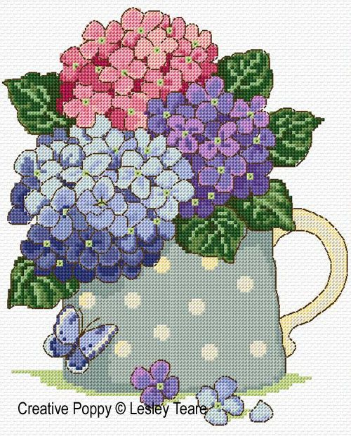 cross stitch patterns hydrangea - Google Search