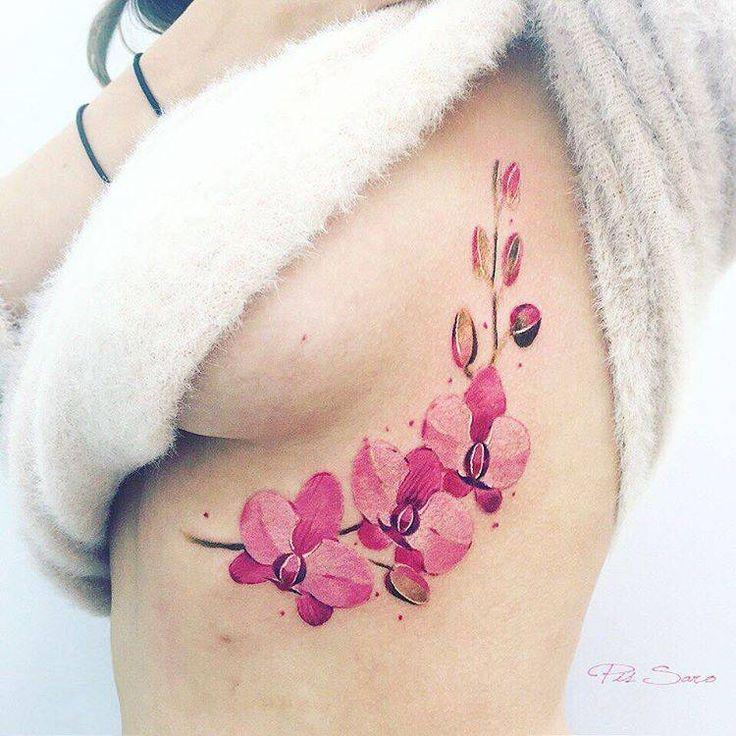 Under breast orchid tattoo. Artista Tatuador: Pis Saro
