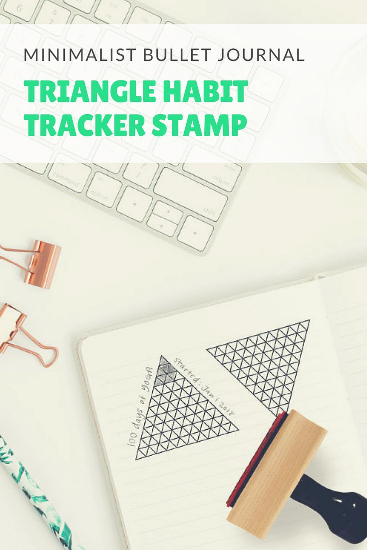 Obsessed with these bullet journal stamps! Perfect for a minimalist bujo or planner. I have seen a lot of habit trackers but not a triangle one like this! I love how you can make every page look creative and neat so quickly with no endless measuring and ruling! Sold on Etsy, so many more lovely stamps in the shop! #ad #bulletjournal #bujo #planner #stationery #stamps #etsyfinds
