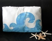 "Waves Poolside Pillow 17"" painted blue lumbar with ties surfing mediterranean coastal beach chaise lounge patio deck indoor outdoor"