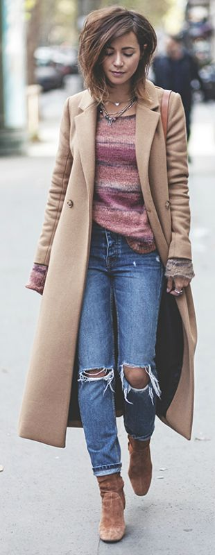 Camel coats + absolute must have this fall + Zoé Alalouch + gorgeous Sezane piece + knitted sweater + distressed denim jeans + suede chelsea boots.   Coat: Sezane, Jumper/Jeans: Mango, Boots: Zara.... | Style Inspiration