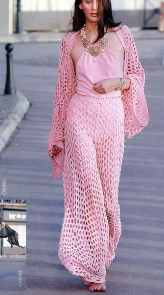 A modern twist on the crochet pants you see in vintage crochet magazines.  Real pretty in PINK! ~ irj