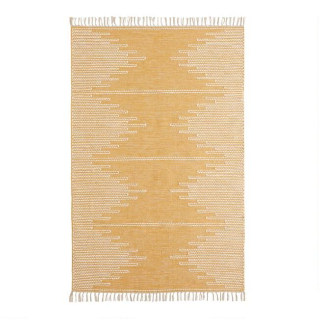 Golden Yellow And White Zigzag Merritt Area Rug Rugs