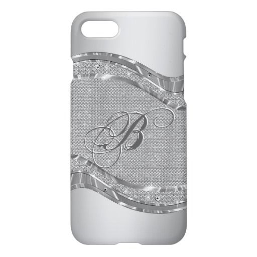 Silver Metallic Look With Diamonds Pattern 2 iPhone 7 Case