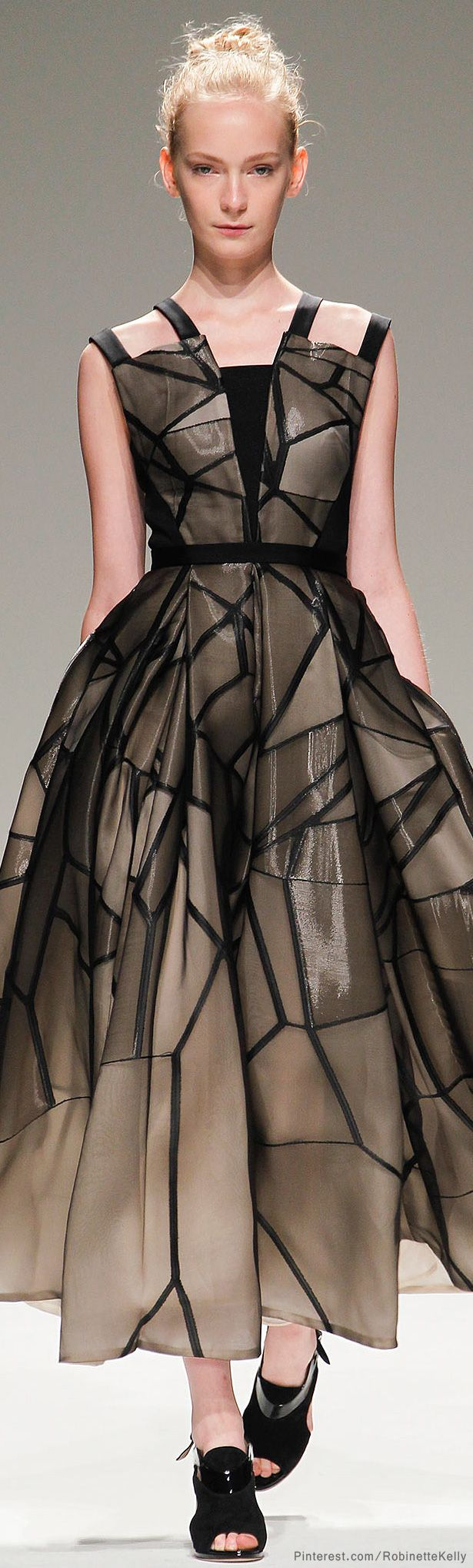 Bibhu Mohapatra | S/S 2014 nude illusion gown black gown structured dress