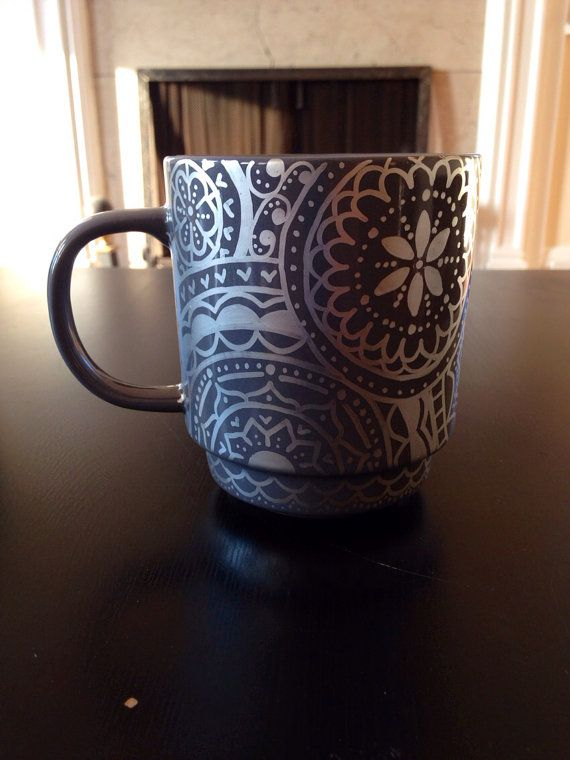 Gray and Metallic Silver hand decorated mug by DecafDoodles