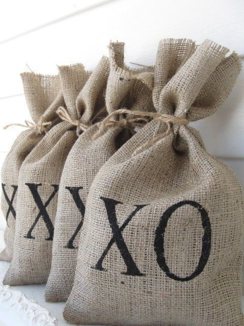 #personalized #favorbags cute xo #wedding and bridal shower favor bags.  personalized burlap bag rustic wedding favor