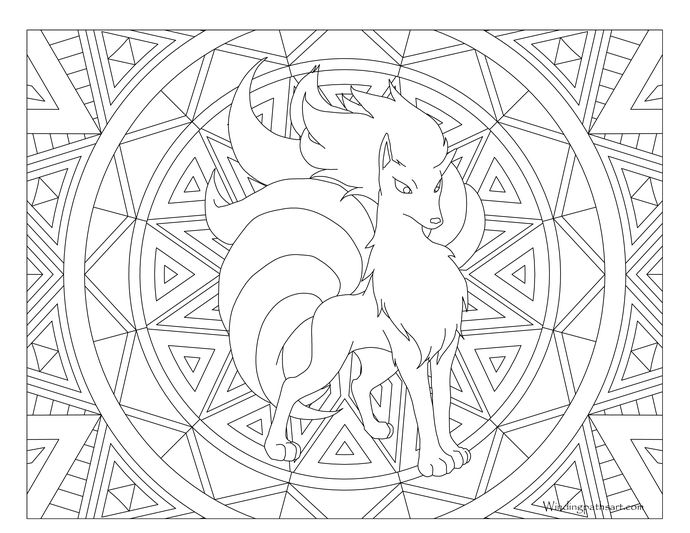 adult pokemon coloring page ninetales