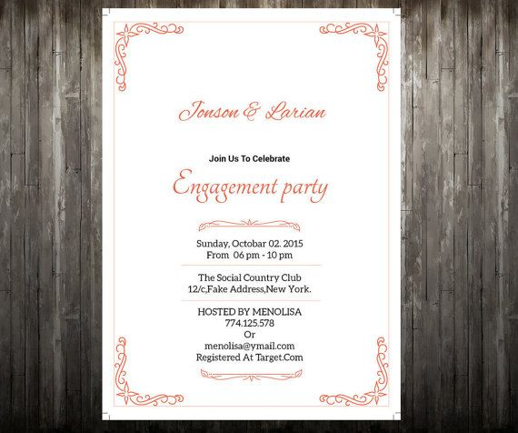 Best  Engagement Invitation Template Word Indesign And Psd