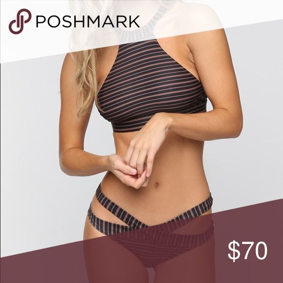 Acacia Dark Classic Dubai Top + High Waist Bikini Acacia  Dark Classic Color (Black and Brown Stripe)  Dubai High Neck Top L (can fit S, M, L) From B-D cup  High Waisted Bottoms S (can fit XS, S, M) 0-4 jeans  NWT  Never Worn  Hygienic Liner Intact  10/10 Perfect Condition   Bought for a friend and was not the right size acacia swimwear Swim Bikinis